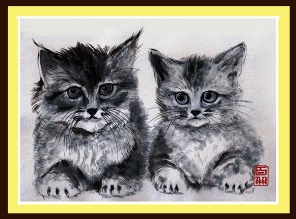 ★★SS子猫二匹額入り.jpg